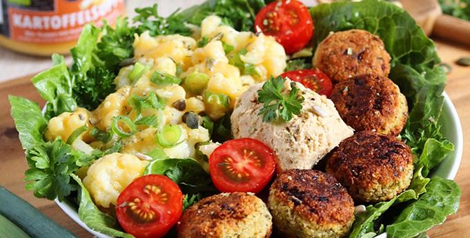 Kartoffel Blumenkohl Hummus Falafel